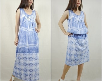 Tie Dyed Sleeveless Scoop Neck Dusty Blue Printed Cotton Jersey Maxi Dress Women Pullover Sun Dress
