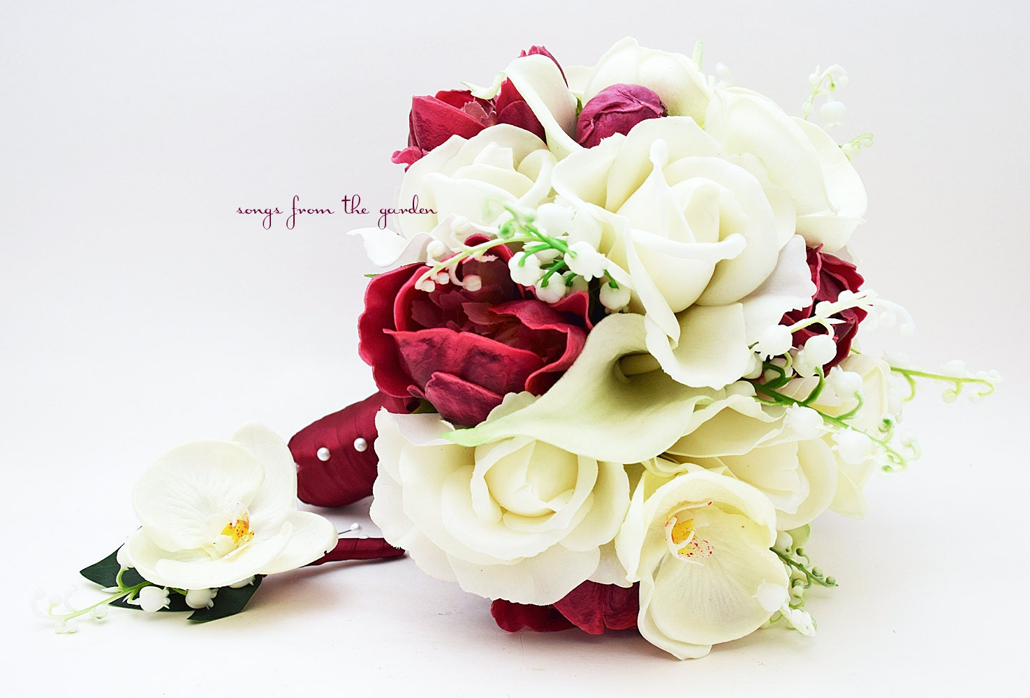Lily Of The Valley Wedding Bouquet: Real Touch Bouquet Lily Of The Valley Peonies Orchid Roses