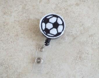 ID Badge Holder Retractable in a felt Soccer Ball, Fashionable Badge Reel, Ready to Ship, Nurse Badge Reel, Teacher Gift, Badge Accessory