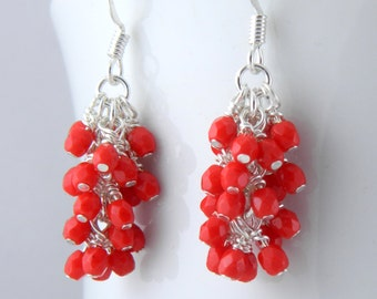 Red Cluster Earrings with Surgical Steel or Sterling Ear Wires