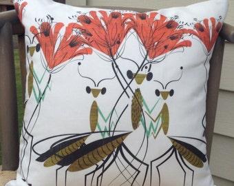 Praying Mantis decorative pillow cover