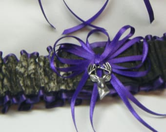 Toss Purple Mossy Oak CAMOUFLAGE wedding garters DEER CAMO garter /