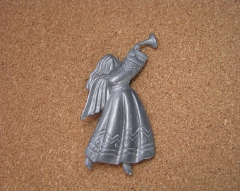 Vintage pewter tone angel brooch pin with horn trumpet