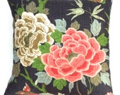 """Designer navy with beige and rose floral 18"""" x 18"""" pillow covers - toss pillows - throw pillows"""