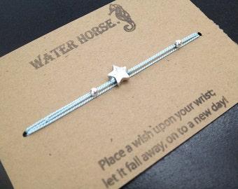 Silver Star Bracelet, Friendship Bracelet, Custom Bracelets, Silver Charm Bracelets, Falling Star Wish Bracelet
