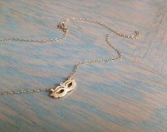 Gold Necklace, Charm Necklace, Micro Charm, Masquerade Mask