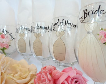 Hand Painted Champagne Glasses -  Hand Painted Wine Glasses - Bridal Wine Glasses - Bridal Party Wine Glasses