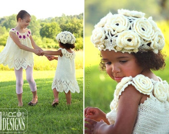 CROCHET PATTERN Summer Dreams Dress Top and Beret Crochet Pattern in PDF