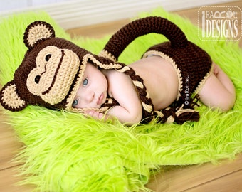 CROCHET PATTERN Chip the Chimpanzee Monkey, Baby Hat and Diaper Cover Set Crochet Pattern in PDF