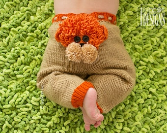 KNIT PATTERN Silly Creatures Pants 3 Designs in 1 Pattern Alien, Lion and Owl Knit Pattern in PDF, Instant Download