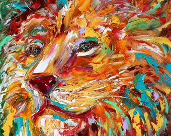 Fine art Print - Modern Lion Print made from image of Original painting by Karen Tarlton fine art