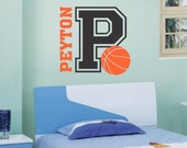 Vinyl Wall Lettering Boy Name Initial Basketball Sports Quotes 2 Color Decal