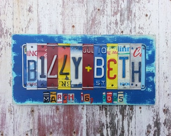 17 letters 10th Wedding Anniversary Tin Aluminum Gift 10 year wedding anniversary  License Plate Sign Name Initials