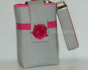 Choose Any Fabric in My Shop or Grey Linen & Hot Pink with Rosette Thick Camera Case with Wristlet  Boxed Bottom Optional Top Closure