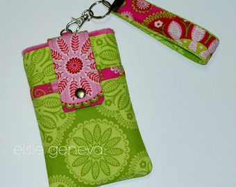 Hot Pink & Lime Green Or Periwinkle Blue and Aqua  Phone Case with Wristlet Smartphone iPhone 4 5 6 Plus