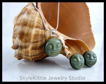 Carved Gemstone Faces, Green Cats Eye Quartz, Pendant Necklace, Post Earrings, 925 Sterling Silver, Two Piece Set, Sun - Moon Face, Jewelry