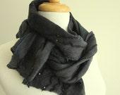 Dark Grey Wool Scarf - Nuno Felt - Warm Winter Scarves - Australia