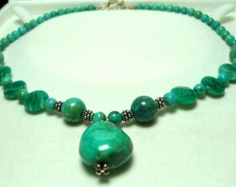 Turquoise Nugget Necklace with Russian Amazonite and Sterling