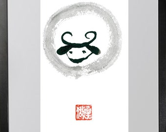 Sheep,Year of the Sheep, Chinese New Year Zodiac 2015, Shengxiao, red evelope, zen sumi ink original painting, junishi, childrens room art,