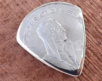 Coin Guitar Pick - Premium Quality - Handmade with a Vintage 1932 Silver 5 Francs Swiss Coin - Actual Pick Shown - Artisan Guitar Pick
