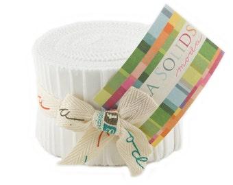 """WHITE Junior Jelly Roll - Bella Solids White - Moda 9900JJR 98 - 2.5"""" Inch Precut Fabric Strips - Solid White Jelly Roll"""