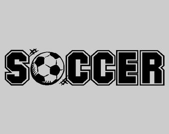 "Soccer Wall Decal Quotes Words Sayings Removable Soccer Wall Sticker Lettering Item #2 (6"" X 27"")"