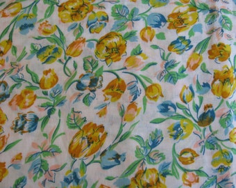 """Vibrant Color Vintage Floral Print Fabric Light Weight 44"""" wide By the Yard"""