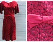 Vintage 1960's Nelson Caine red dress with black flowers / fifties day dress / 32 waist / size 12 or 14