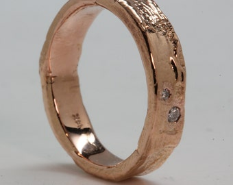 14k Rose Gold 2 Diamond set in Tree Bark Ring sizes 3 to 12  made to order