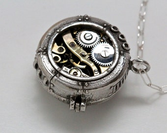 Submarine Hatch Watch Moment Locket in Sterling Silver or white bronze Made in NYC Blue Bayer Design