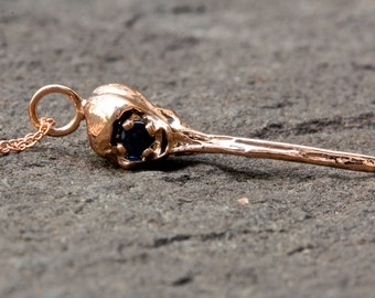 "Solid  14k Rose-Gold Life-Size Hummingbird Skull  Necklace  Sapphire Eyes 18"" rose-gold-fill chain"