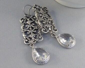 Victorian Diamond,Earring,Diamond,Diamond Earrings,Crystal,Clear,Birthstone,April Birthstone,April,Birthstone Earrings.valleygirldesigns.