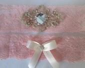 Light Pink Lace Wedding Garter Set, Champagne Bridal Garters, Blush Garter w/ Bling, Crystals, Vintage Style Wedding, Prom 2015