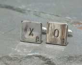 Sterling Silver XO Scrabble Cufflinks - XO Jewelry - Scrabble Tile Jewelry - Scrabble Tiles - Scrabble Letters - Scrabble Cuff Links