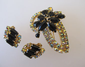 Vintage Demi Parure AB Rhinestones and Black Stones In the Style of D&E