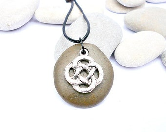 Spanish beach pebble pendant. MYSTIC charm. Celtic knot Adjustable  necklace. Black leather. Mediterranean beach pebble . EVAS beach stones
