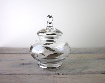 Mid Century Modern Apothecary Jar with Silver and Etched Leaves