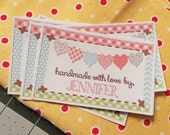 Heart Banner Fabric Quilt Label Set of 10