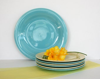 Turquoise chop plate by Vernon Kilns. Early California, Serving plate, large, blue, aqua, mid century, twelve inches, solid color.