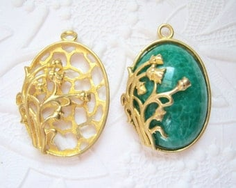 1 - 25x18mm brass floating lily of the valley setting - BS77