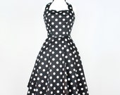 Classic Black and White Polkadots  Pinup Dress