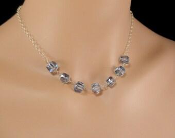 Mystic Blue Quartz Necklace, Sterling Silver Wire Wrapped, Cube Gemstone, Quartz Necklace Denim Blue Gemstone Necklace Minimalist Jewelry