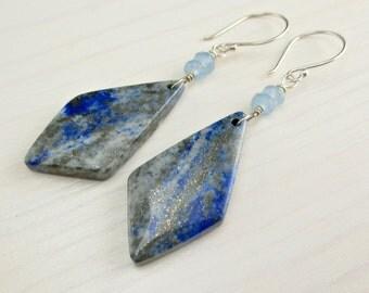Lapis Lazuli Slice Earrings, Aqua Chalcedony, Pyrite, Blue Gemstone Slice, Lapis Lazuli Long Earrings, Lapis Dangle Drop Earrings Natural