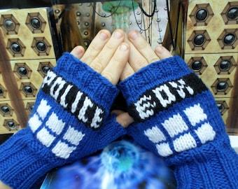 Dr. Who TARDIS Fingerless Gloves Dark Blue