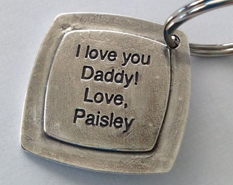For Daddy -A Double Sided Footprints/Message  Made from your child's actual prints into a Silver Keychain