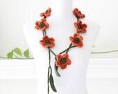 Crocheted Pumpkin  Flower Lariat, Necklace, Scarf, Scarflette