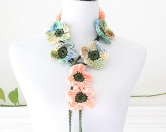 Crochet Peach, Green Lariat Necklace, Scarf