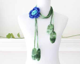 Crochet Royal Blue and Turquoise Lariat  Scarf, Necklace, Scarflette