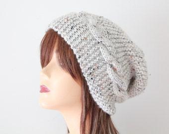 Knit Hat Oatmeal Slouchy Beanie Hat