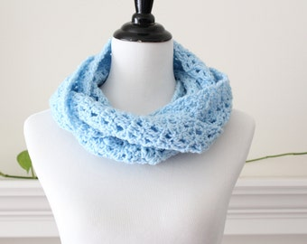 Crocheted Blue Infinity Scarf, Neckwarmer, Cowl